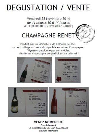 Champagne RENET_Dégustation Vente
