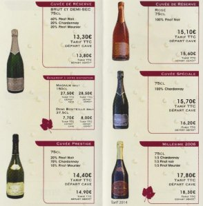 Champagne RENET_Tarif