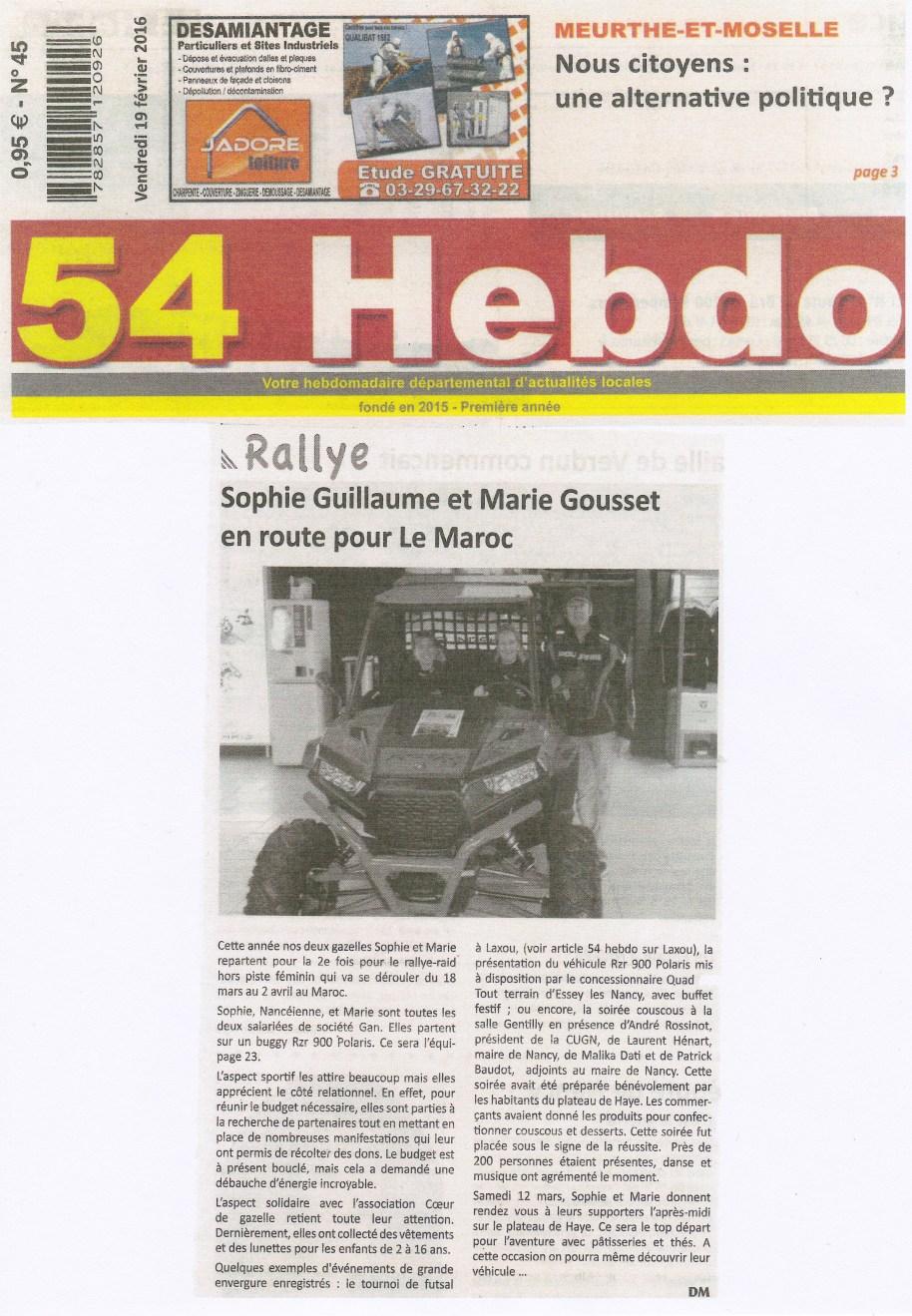 2016 02 19 Article 54HEBDO_Journal Papier_Rallye